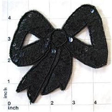 "Load image into Gallery viewer, Bow with Black Sequin 4.5"" x 4.5"""
