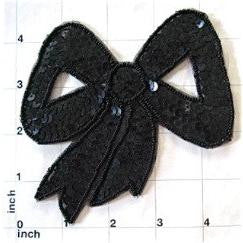 "Bow with Black Sequin 4.5"" x 4.5"""