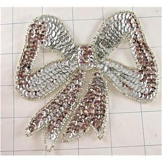 Bow with Silver Cupped Sequins and Beads in 2 size Variants