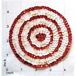 6 PACK Circle Dot with Target Look, Red and White Sequins 4""