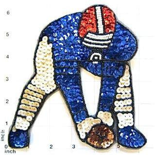 "Football Player, Sequin Beaded  6.5"" x 6.5"""