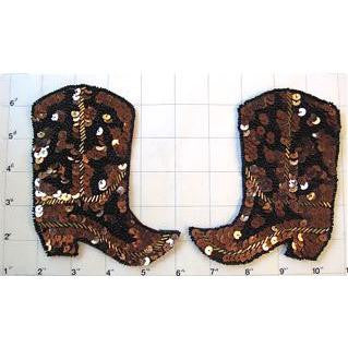 "Boot Pair with Bronze Sequins and Beads 5"" x 4.5"""