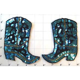 "Boot Pair with Turquoise and Black Sequins and Beads 5"" x 4.5"""
