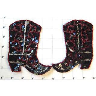 "Cowboy Boot Pair with Black, Red and Silver Sequins and Beads 5"" x 4.5"""