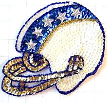 "Football Helmet with White and Blue Sequin Colors 6.75"" x 5"""