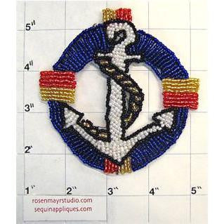 "Anchor and Rope Beaded Multi-Colored 4"" - Sequinappliques.com"