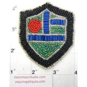 "Crest all beads Black Red Blue turquoise 3.25"" x 2.75"""