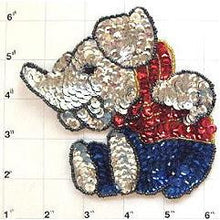 "Load image into Gallery viewer, Silver Elephant Sitting Small 5"" x 4"""