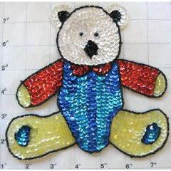"Bear with blue and red Outfit 7"" x 6.5"""