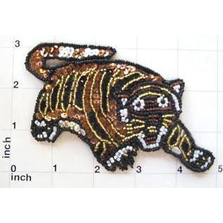 "Tiger with Black and Gold Stripes Roaring 3"" x 4.75"""