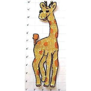 "Giraffe with Yellow Sequins Orange Spots 11"" x 3.5"""