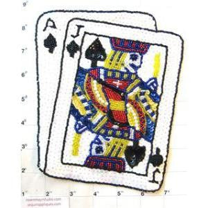 "Ace Jack Playing Cards with White Sequins and Beads 7.5"" x 7"""