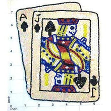 "Load image into Gallery viewer, Ace Jack with Beige Sequins Playing Card 7.75"" x 6.25"" - Sequinappliques.com"