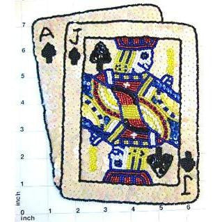 "Ace Jack with Beige Sequins Playing Card 7.75"" x 6.25"""