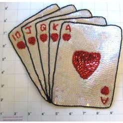 "Royal Flush w/ Beige and Red Sequins Two Sizes,7.5"" x 8.5"" & 5.5"" x 5.5"""