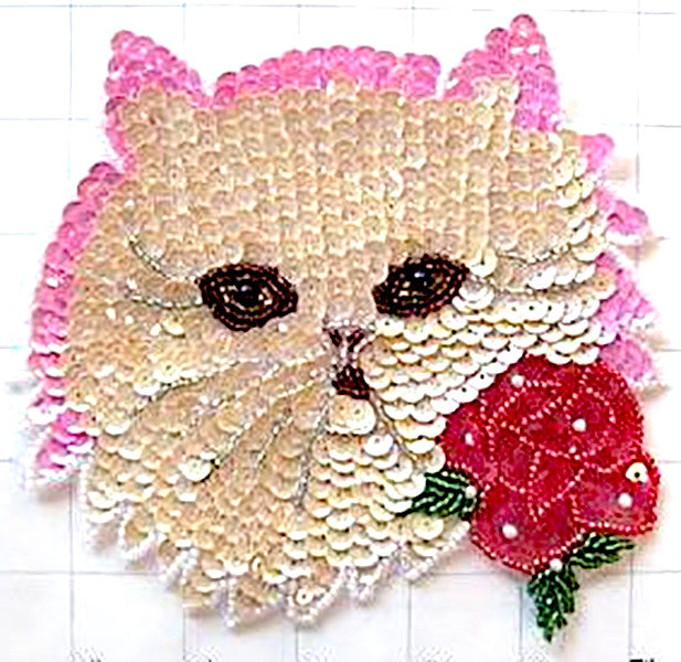 "Cat Face Beige Sequins with Rose 6"" x 6"""