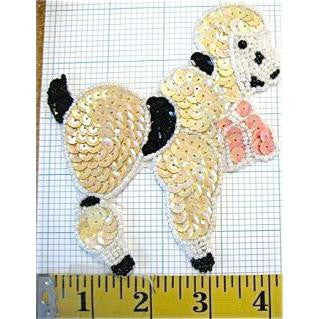 "Poodle with Beige Black Sequins White Beads 4.75"" x 4.5"""