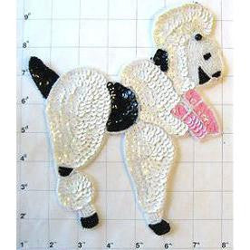 "Poodle with Chinese White Sequins Pink Bow 8"" X 7"""
