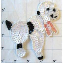 Poodle with Chinese White Black and Pink Sequins and Beads 4.75 x 4.5""