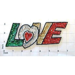 "Love Word Multi-Colored Sequins and Beads 3"" x 6.5"""