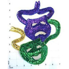 "Load image into Gallery viewer, Mask for Mardi Gras, Sequin Beaded  9.5"" x 7"""