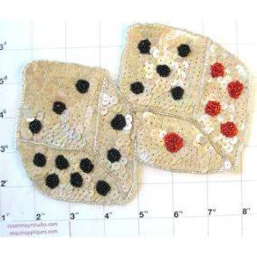 "Double Dice Beige Sequins 5"" x 7"""