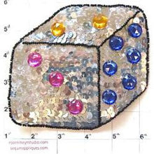 "Load image into Gallery viewer, Dice with Silver Sequins Multi Colored Stones 4.5"" x 5"""