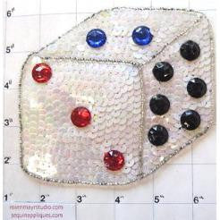 "Dice with White Sequins and Beads and Stones 4.5"" x 5"""