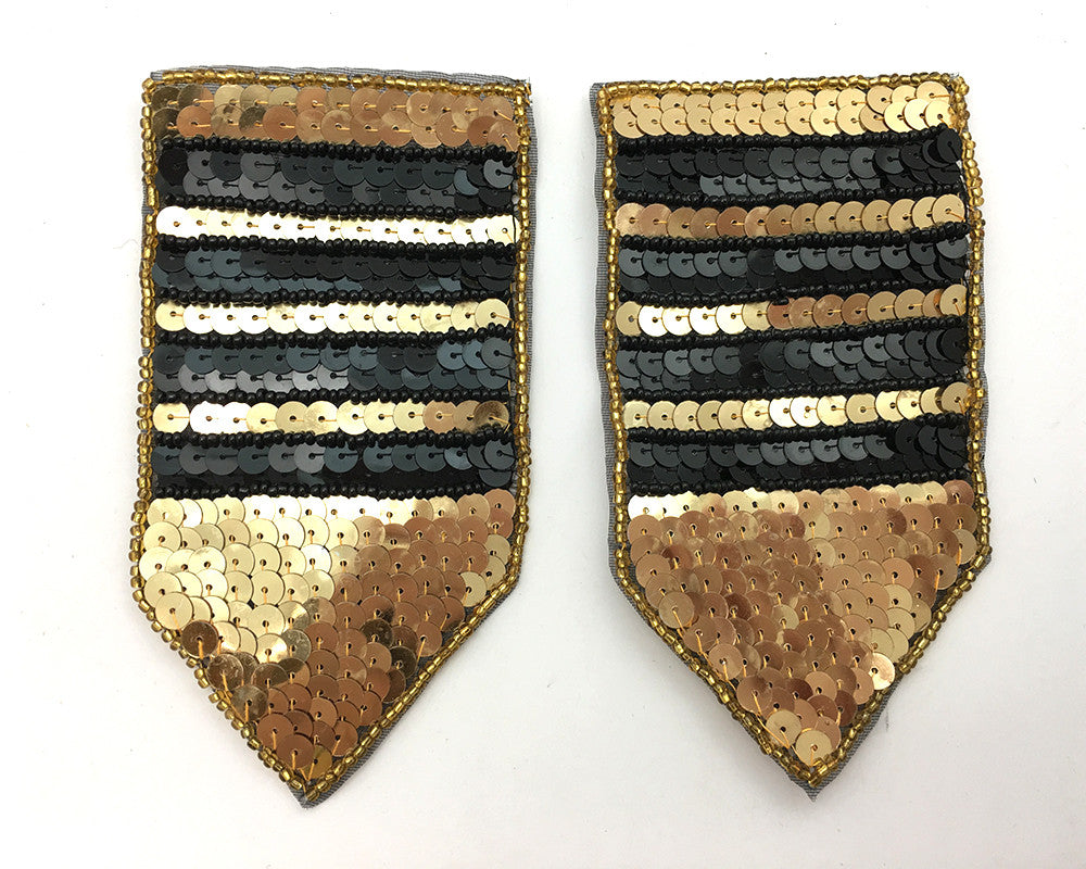 "Pair Patch with Gold and Black Stripes Sequins and Beads 5"" x 2.75"""