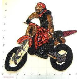 "Motorcycle Rider Sequin Beaded 11"" x 9"""