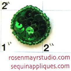 Dot with Green Sequins 7/8""