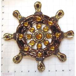 Ships Wheel Dark Brown and Gold Sequins and Beads 10.5""