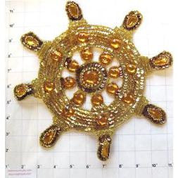 Ships Wheel Gold Beads and Gem Stones 10.5""