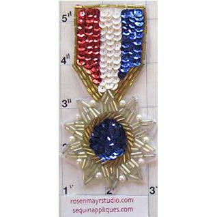 "Badge Medal Sequin Beaded 4"" x 2"""