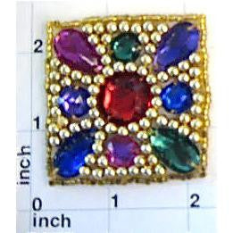 "Designer Motif Jewel Square with Multi-Colored beads 2"" x 2"""
