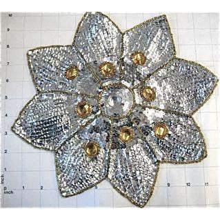 Flower with Silver Sequins 11.5""
