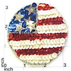 Flag Circle with Red White Blue Silver Sequins and Beads  3""