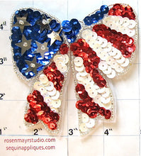 "Load image into Gallery viewer, 10 PACK Bow Red White and Blue with Sequins and Beads 4"" x 4"" - Sequinappliques.com"