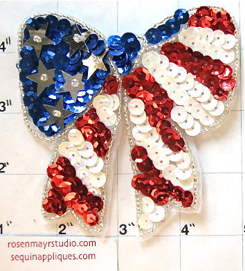 "Bow Red White and Blue with Sequins and Beads 4"" x 4"""