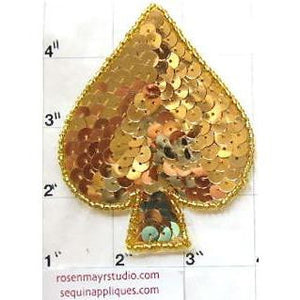 Spade Symbol in Gold Sequins and Beads 3.5""