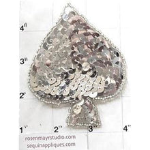 Load image into Gallery viewer, Spade with Silver Sequins and Beads 3.5""
