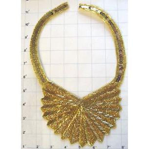 "Designer Neckline with Gold Sequinsand Beads  10.5"" X 7"""
