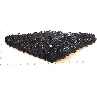 "Designer Motif Belt Line with Black Sequins and Beads Rhinestone14"" x 5.5"""
