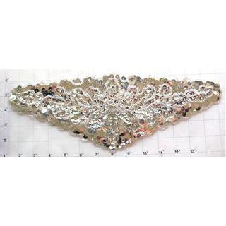"Designer Motif Belt Line with Silver Sequins and Beads 14"" x 5.5"""