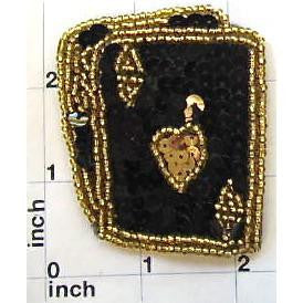 "Ace King in Black and Gold Sequins 2.75"" x 2.25"""