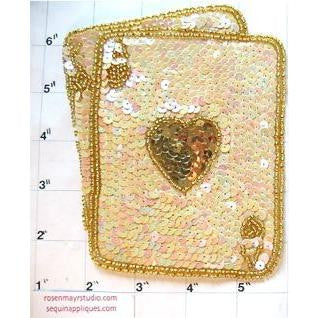 "Ace/King of Hearts, Beige w/ Gold Sequins, 5"" x 4"""