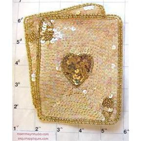 "Ace/King of Hearts, white w/ gold sequins,  5"" X 4"""
