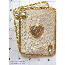 "Load image into Gallery viewer, Ace of Hearts, white and gold, 6.5"" x 5"""