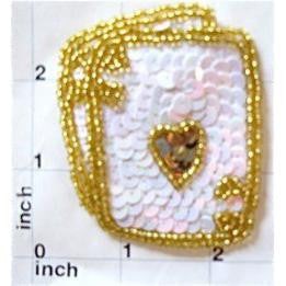 "Ace King Playing Card White And Gold Sequins 2.75"" x 2.25"""