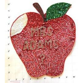 "Apple with Words  Sequins and Beads 10"" x 9"" - Sequinappliques.com"